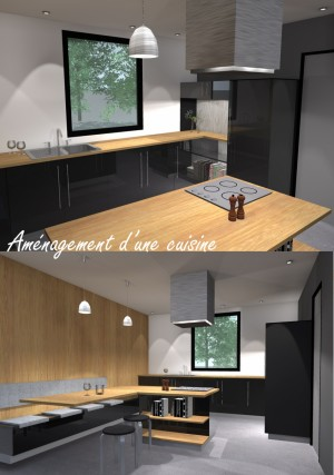 Am nagement d 39 une cuisine ferm e avec ilot central for Amenagement ilot central cuisine