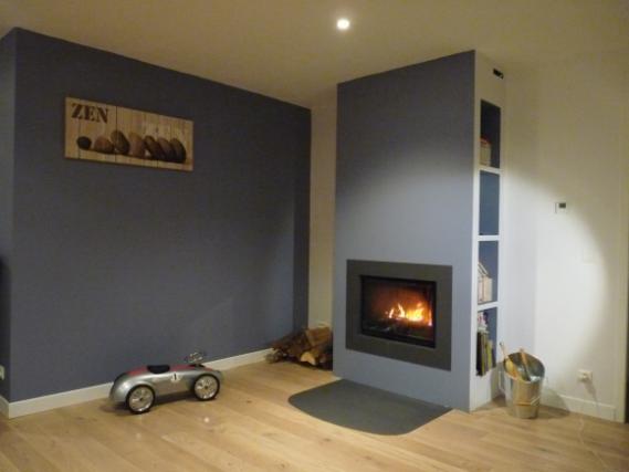 chemin e moderne foyer ferm. Black Bedroom Furniture Sets. Home Design Ideas