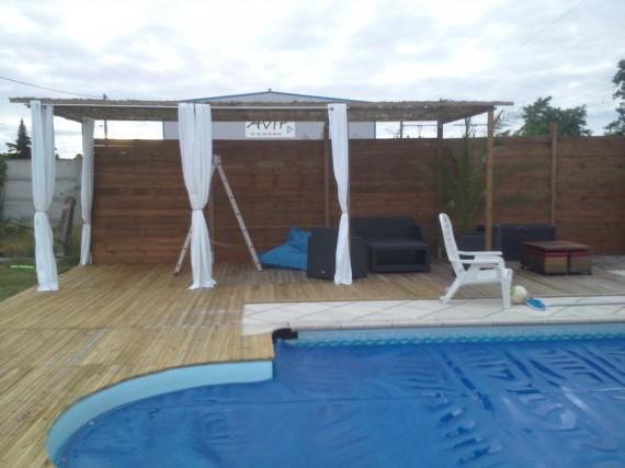 creation et pose de terrasse bois avec pergola arbanats. Black Bedroom Furniture Sets. Home Design Ideas